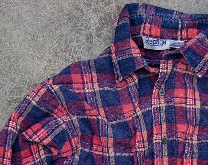 Oversized Pink + Blue Vintage Flannel Soft Grunge Size XXL | Mens Womens Unisex | Pastel Colors Work Shirt | 7V