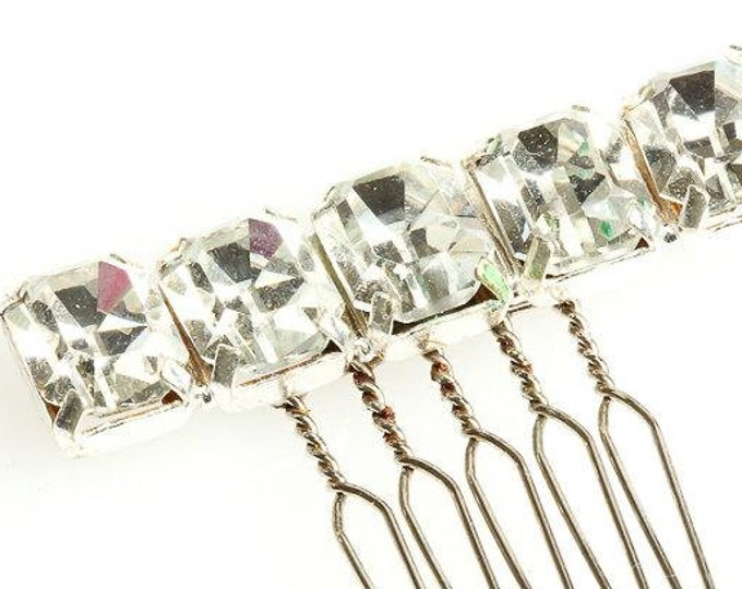 Crystal Hair Comb Hand Crafted Embellished Silver Rhinestone Headpiece Small Bling Bridal Accessory