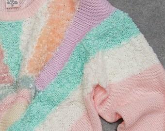 1980s Pastel Sweater Geometric Metallic Iridescent Colors Vintage 80s Retro True Vintage Jumper Size LARGE 7ND