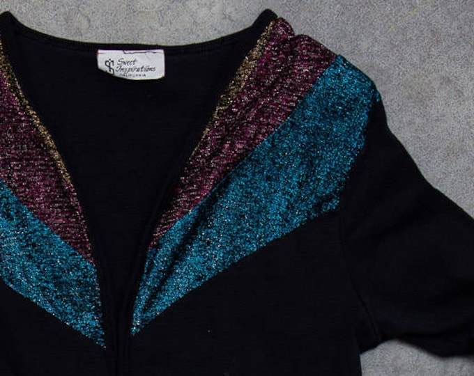 Metallic 1970s Cardigan Glitter Blue Pink and Bronze 1970s 80s Made in USA Cropped Top Long Sleeve  Size XS 7ND