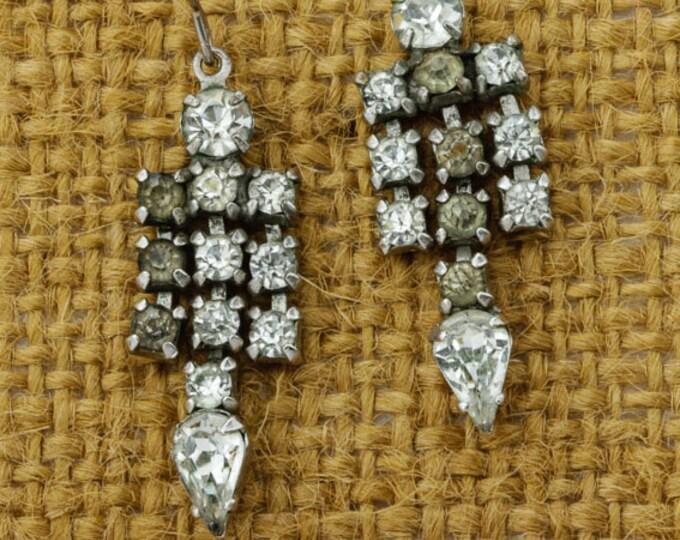 Vintage Rhinestone Earrings French Hook Dangle Drop Silver Tone Pierced Chandelier Earings   Vtg Pin 16B