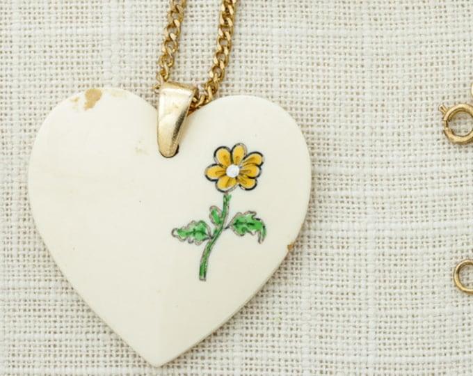 Flower Power Vintage Necklace Pendant Yellow Flower Heart | Brass Chain | Hippie Hippy Halloween Costume Jewelry 16D