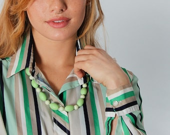 1970s Blouse Blue & Green Stripe Top Vintage Striped Womens Shirt Oversized Drapey | 5CC