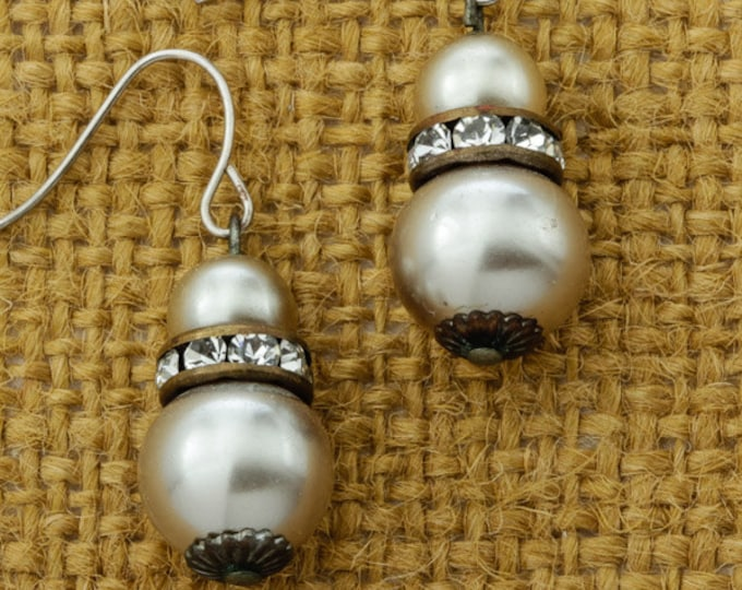Pearl & Vintage Rhinestone Earrings French Hook Dangle Drop | Champagne Darker Pearls | Silver Tone Pierced Earings | Vtg Pin 16B