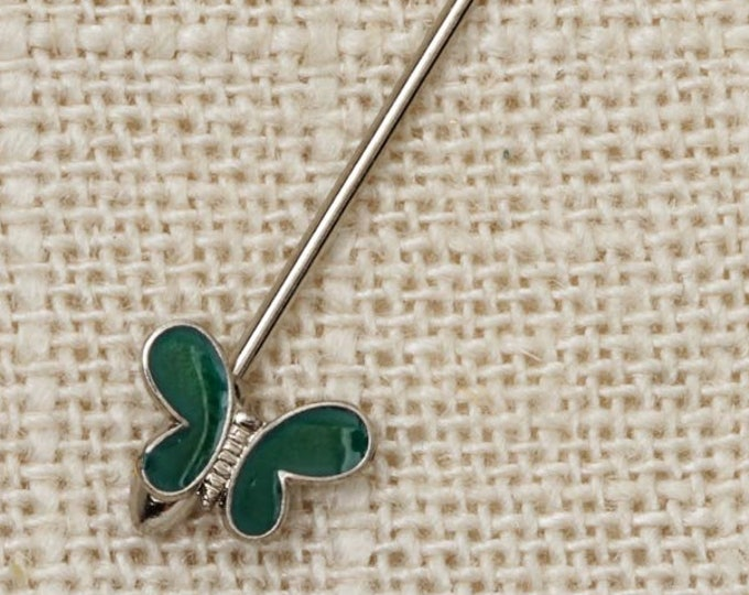 Green Butterfly Stick Pin Silver Teal Vintage Stickpin 7R
