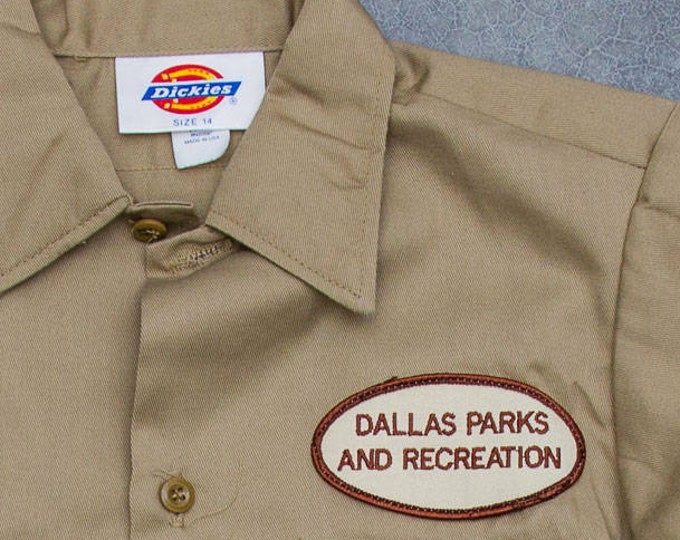 Dallas Parks and Recreation Patch Shirt Vintage Tan Khaki Dickies Boys Men's Shirt Size XS Mens Kids Unisex Texas Style 7W