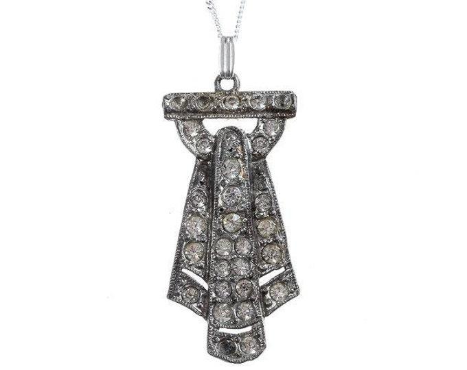 Vintage Art Deco Necklace Simple 925 Sterling Silver Chain Pendant 1920s 1000545 16E