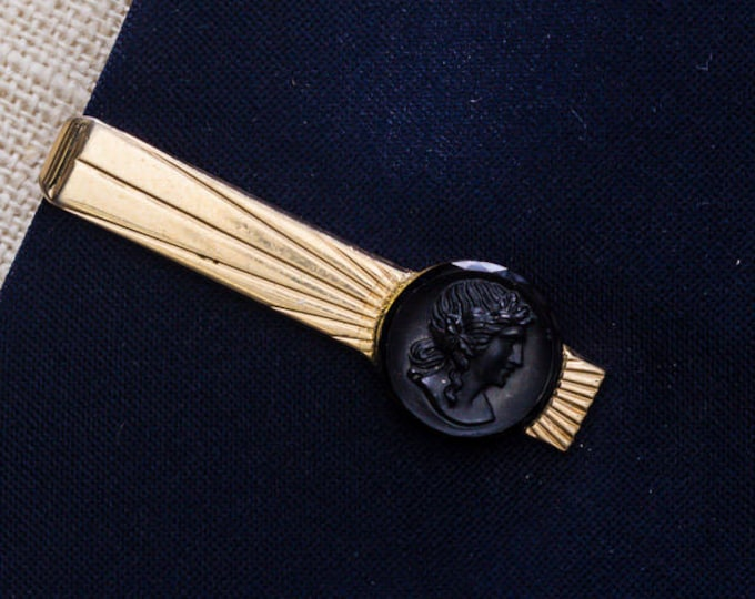 Cameo Tie Clip Vintage Black Gold Swank Brand Etched Men's Accessories Add On 7WW