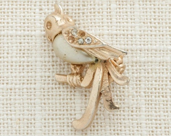 Small Gold Bird Brooch Vintage Rhinestones Fancy Broach Costume Jewelry Pin 6Y