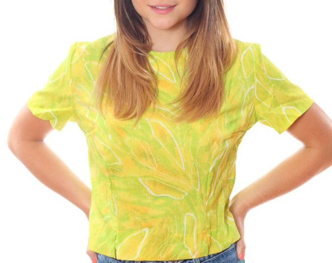 1950s Vintage Printed Top Large XL 1960s 1970s Paisley Yellow Shirt Top Blouse 4AA