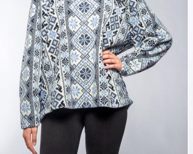 Vintage Fleece Large Vintage Winter Pullover Oversized Fleece Ski Cozy Soft 90s Blue & White Fair Isle | Fall Winter Snowflake Shirt 16Z