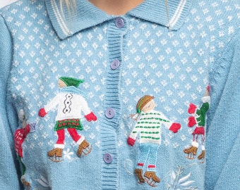 Light Blue Vintage Christmas Cardigan | Pastel Ice Skating Snowflakes Ugly Christmas Sweater Winter Size L Large Xmas Shirt Holiday 7CJ