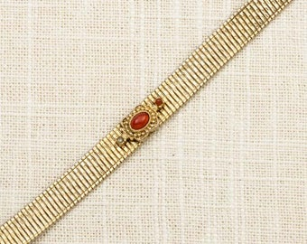 Reddish Orange Vintage Bracelet Gold Thin Costume Jewelry 16S