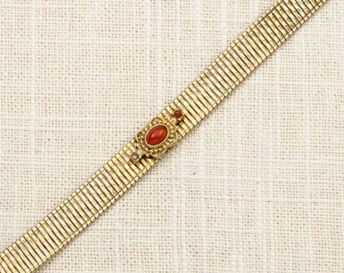 Reddish Orange Vintage Bracelet Gold Thin Costume Jewelry 16S