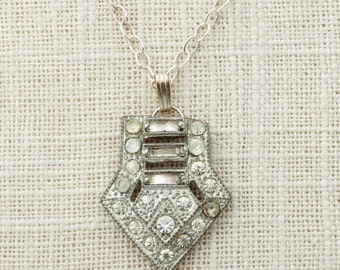 Art Deco Necklace Sterling Silver Delicate Chain Simple Rhinestone Pendant 925 Sterling 1920s Jewelry 16E