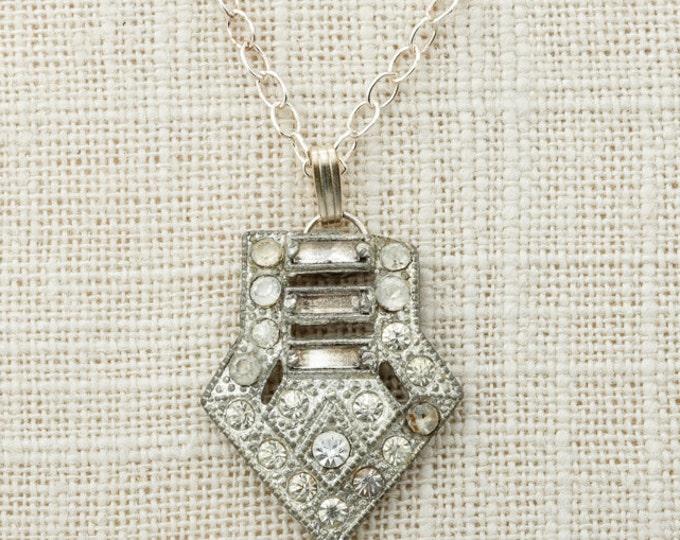 Art Deco Necklace Sterling Silver Delicate Chain Simple Rhinestone Pendant 925 Sterling 1920s Jewelry 16E