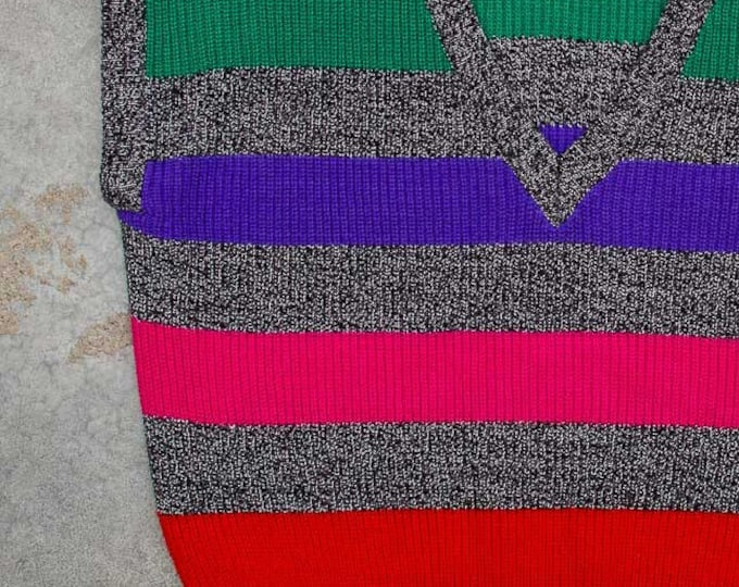Rainbow Vintage Sweater Vest 1980s Gitano Sweater Vintage Sleeveless Jumper Vest Oversized Stripe XXXL 7BD