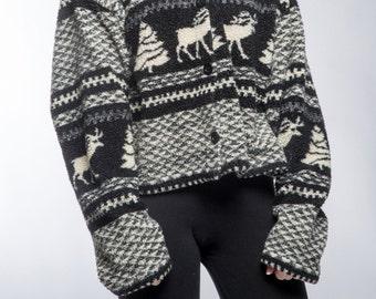 Cropped Fleece Jacket {Light Weight} Black & White Winter Scene Cardigan Size LARGE Top Vintage Fair Isle Fuzzy Soft Cozy Jacket Top 16Z
