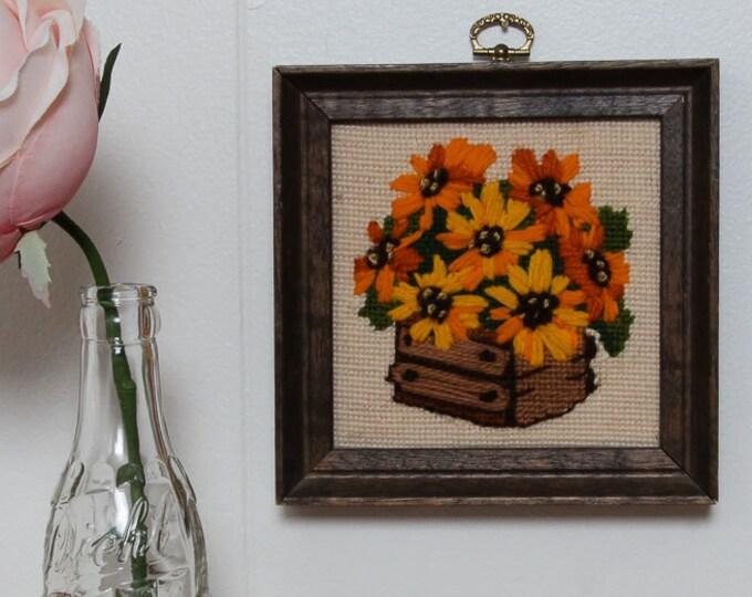 Flower Pot Framed Needlepoint | Yellow and Orange Basket Floral Arrangement | 6.5x6.5 | Vintage Kitsch Cross-Stich Embroidery Frame Wall Art