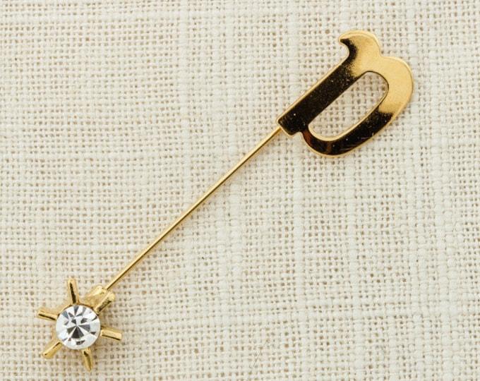 "Star Rhinestone Stick Pin Letter ""a"" Initial A Celestial Vintage Stickpin Sun Gold 6Y"