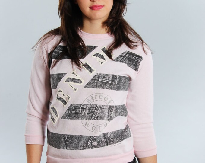 "1980s Vintage Top Small VTG 80s - 90s Pink Sweatshirt Distressed ""DENIM"" Striped Crewneck Fleece 