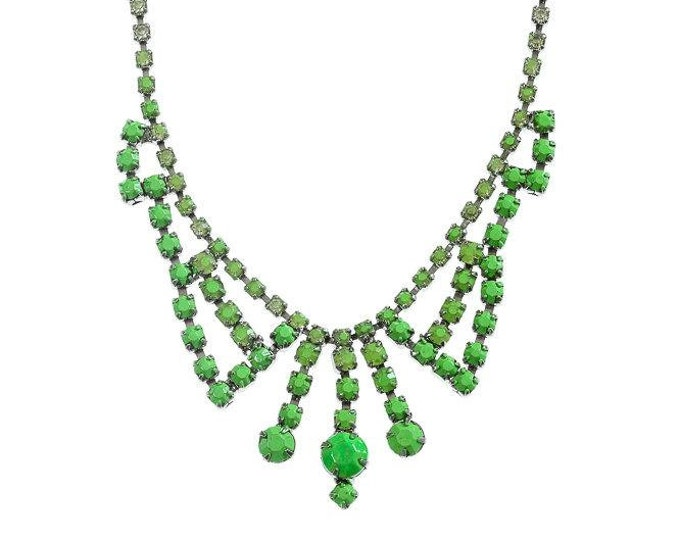 Ombre Neon Green Necklace Vintage Painted Rhinestone Necklace Candy Colored Bridesmaid Bridal Jewelry Maid of Honor GIft 1000583