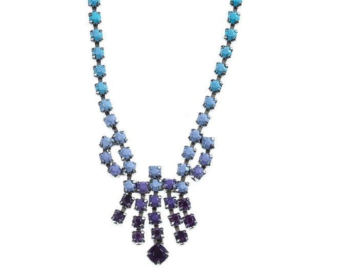 Ombre Necklace Hand Painted Blue Purple Lavender Vintage Rhinestone Necklace Modern Bridesmaid Candy Colored 1000476