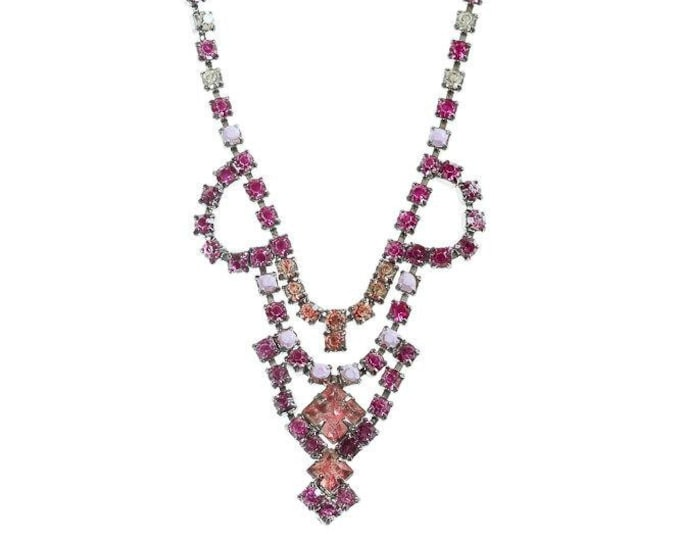 Hot Pink Peach & Lavender Rhinestone Necklace Hand Painted Jewelry 1950s Pastel Translucent 1000484