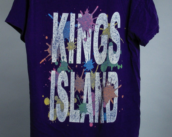 Medium 1990s Vintage Purple Kings Island T Shirt Ohio Tee Shirt Distressed 6AA