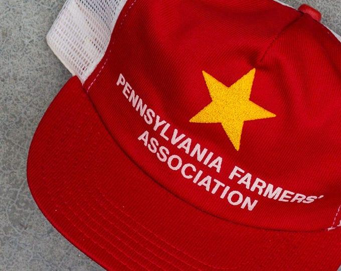 Pennsylvania Farmers Trucker Cap Association Red Yellow Star Vintage Snapback Hat 90s Baseball Style 7ZZ