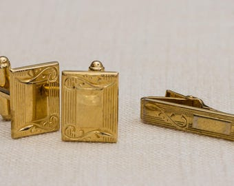 Gold Etched Cufflinks Tie Clip Vintage Scroll Design Anson Brand Men's Accessories Cuff Link Tuxedo Shirt Add On 7UU