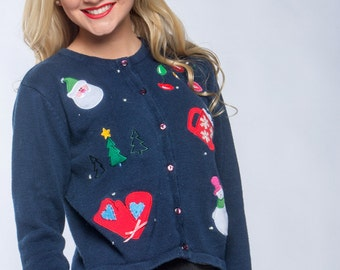 80s Vintage Blue Ugly Christmas Sweater Santa Christmas Cardigan | Ornaments Snowman | Ugly Xmas Sweater Size L Large (fits like medium) 6CB