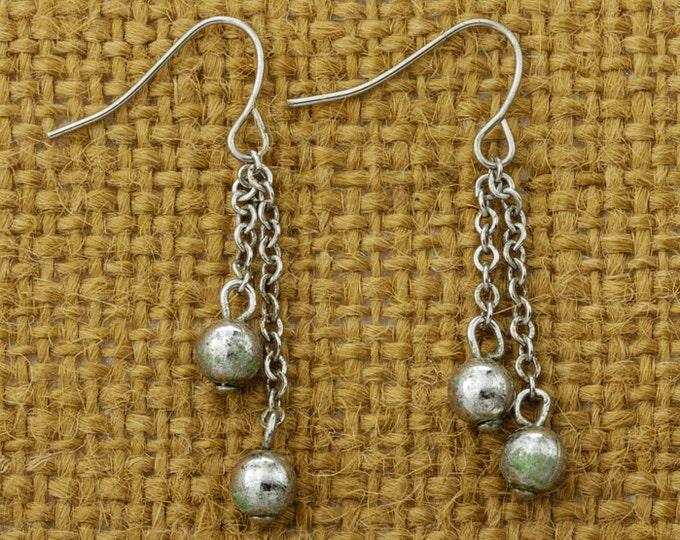 Vintage Silver Chain Earrings French Hook Dangle Drop Pierced Earings   Vtg Pin 16B