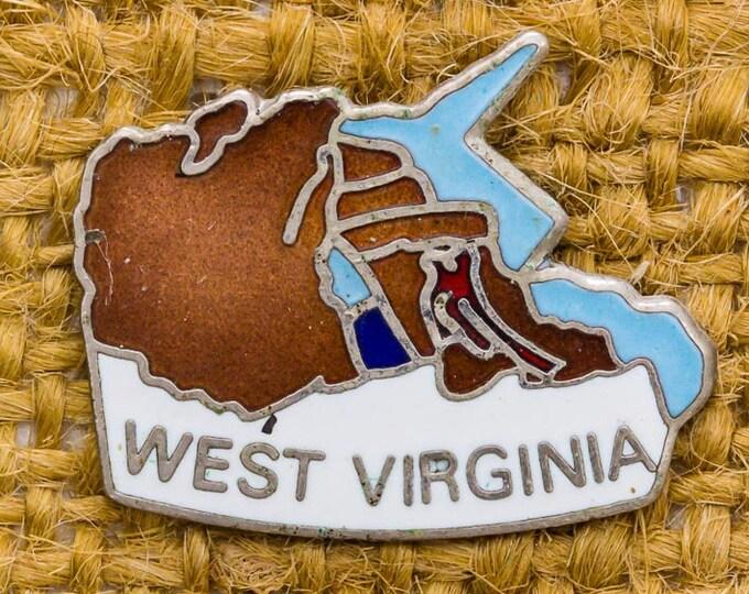 West Virginia Enamel Vintage Lapel Pin State Silhouette Brown Blue White Button Vtg Pin 7AN