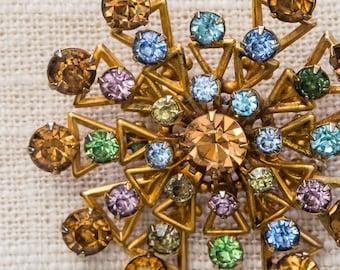 Gold Rhinestone Star Burst Brooch Pastel Blue Green Amber Pink Vintage Broach Pin 7YY