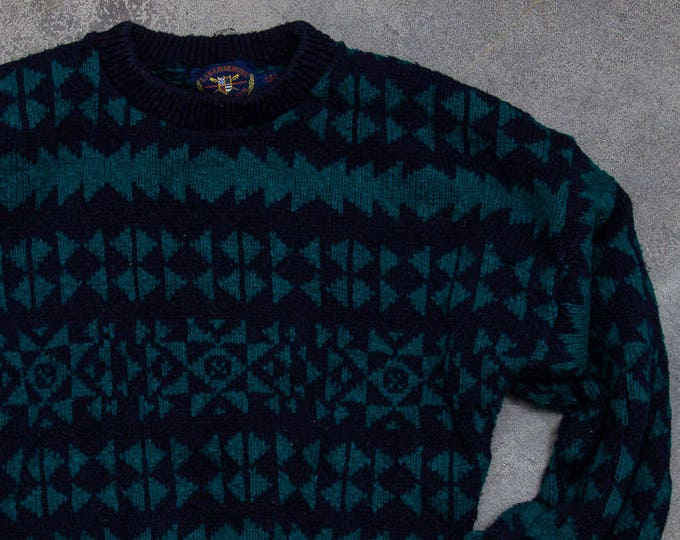Oversized Geometric Sweater Unisex Navy Blue & Green Vintage Winter Jumper Size XL 7NN