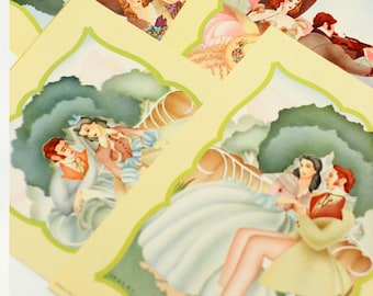 Romantic Victorian Poster Prints | Couple Art Set of 6 Paintings by Roy Printed by Donald Art Co Vintage Graphic Art Frame