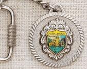 Mespelbrunn Castle Germany Vintage Keychain Round Silver Coin Hook Closure Key FOB Brass Key Chain 7KC