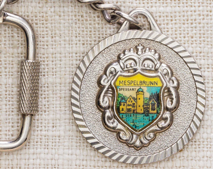 Mespelbrunn Castle Germany Vintage Keychain Round Silver Coin Hook Closure Key FOB Brass Key Chain 7KC