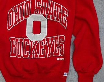Vintage Ohio State Buckeyes Sweatshirt Block O OSU | VTG Fleece Size LARGE Bucks Columbus Ohio Scarlet Red | 7U
