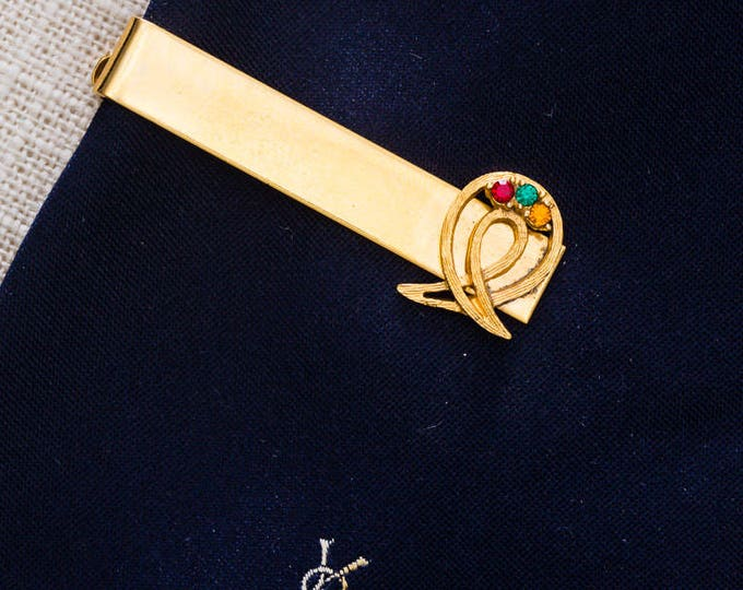 Rhinestone Gold Tie Clip Vintage Red Green Amber Ribbon Design Men's Accessories Add On 7WW