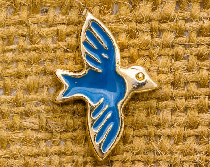 Blue Bird Enamel Vintage Lapel Pin Gold Button Vtg Pin 7AN