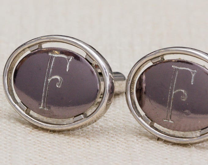 Silver Letter F Cufflinks Vintage Oval Dante Brand Men's Accessories Cuff Link Tuxedo Shirt Add On 7UU