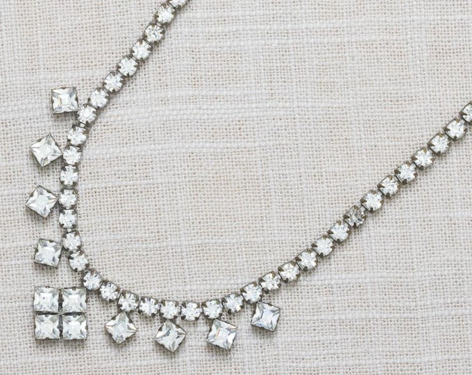 Rhinestone Vintage Necklace Choker Square Crystal & Silver Costume Jewelry 7AA 4
