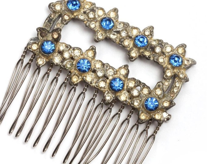 Blue Rhinestone Art Deco Hair Comb 1920s Headpiece Flowers Handmade Vintage