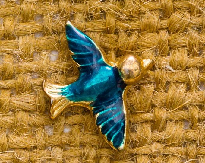 Teal Enamel Bird Vintage Lapel Pin Gold Tiny Animal Button Vtg Pin 7AN