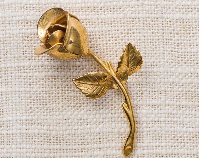 Gold Monet Rose Brooch Flower Shiny Bud Etched Metal Vintage Broach Pin 7YY 56