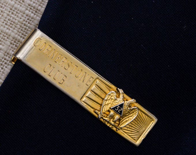 Cornerstone Club 32 Tie Clip Vintage Gold Black Bird Image Men's Accessories Add On 7WW