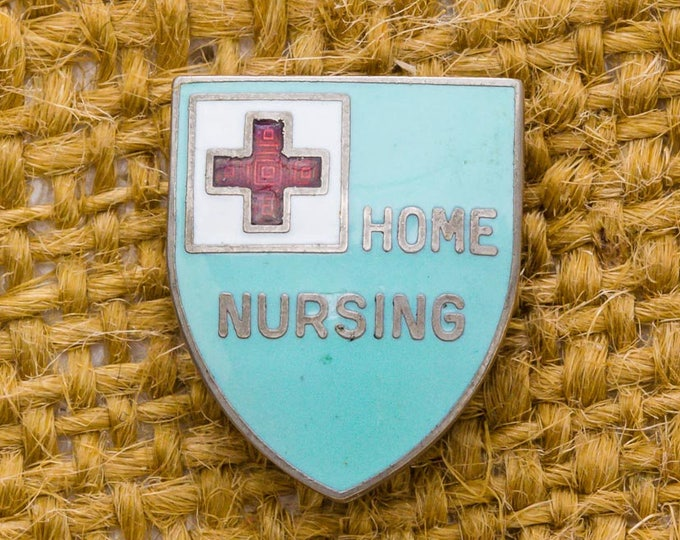Home Nursing Shield Shaped Vintage Lapel Pin Enamel Aqua Red Silver White Button Vtg Pin 7AN