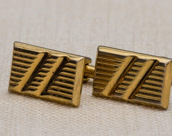 Rectangle Gold Cufflinks Vintage Etched Lines Men's Accessories Cuff Link Tuxedo Shirt Add On 7UU